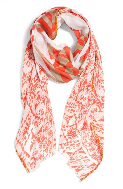 Echo: Mixed Geo Scarf in Coral (image via Nordstrom)
