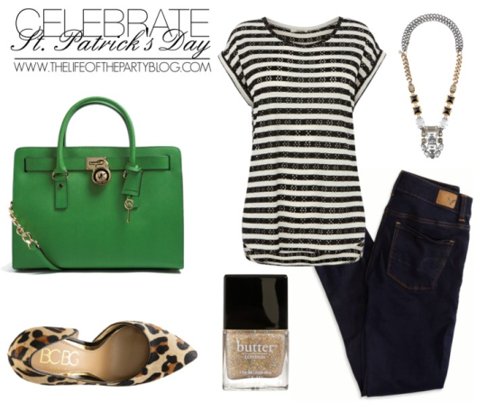 Oasis striped top, $27 / American Eagle Outfitters dark wash jeans / BCBGMAXAZRIA leopard print shoes / MICHAEL Michael Kors green leather handbag / Stella Dot bib statement necklace / Butter London nail polish
