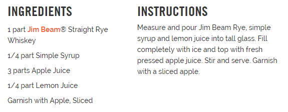 Apple n Rye ingredients
