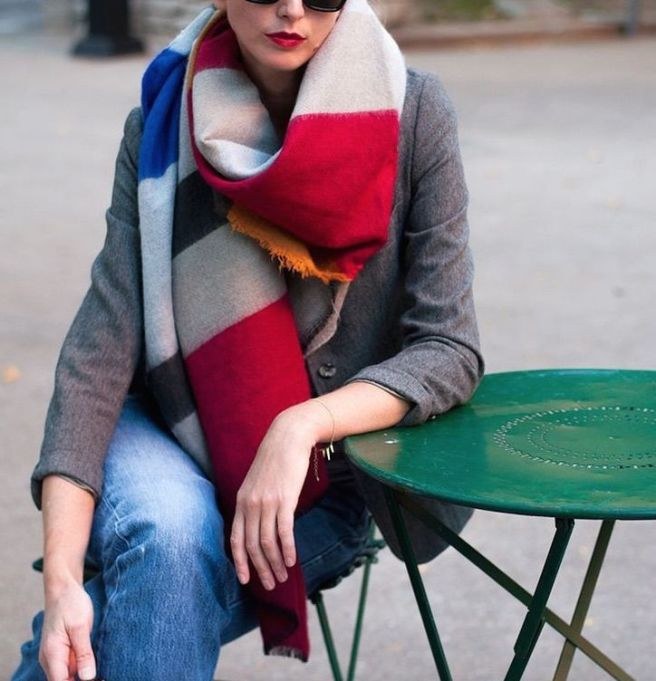 color blocked blanket scarf