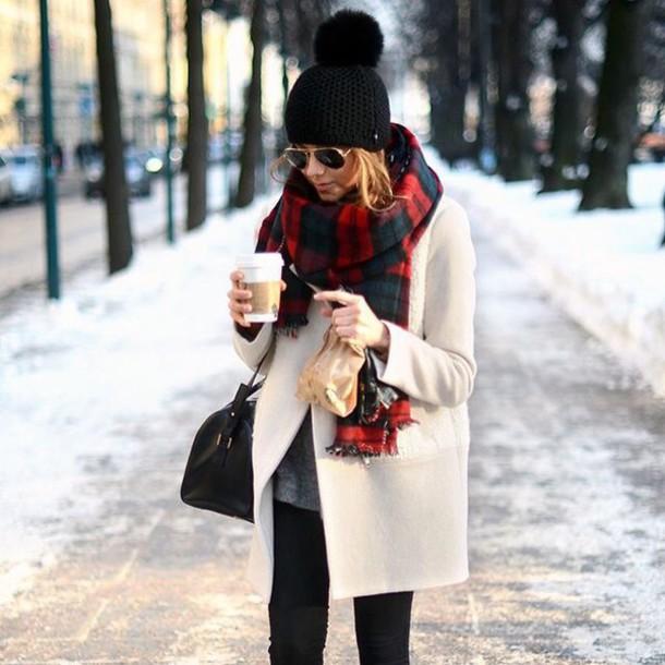 plaid scarf girl