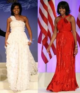 michelle-obama-wearing-jason-wu-dresses-at-inaugural-ball-2009-and-2013
